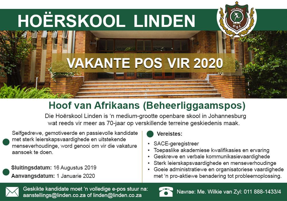 hoerskool-linden-afrikaans-hoof-vacant-post