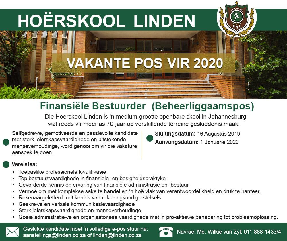 hoerskool-linden-finansiele-best-linden-vacant-post